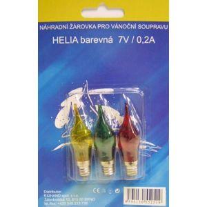 Blistr 3 žárovky Helia barevná 7V/0,2A