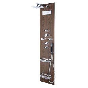 Sprchový panel Sapho FLAT CUBE na stěnu s termostatickou baterií wenge 80720-0203