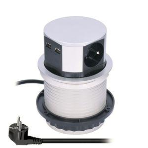 Solight výsuvný blok zásuvek, 3 zásuvky, 2x USB, kruhový tvar nízký, prodlužovací přívod 1,5m, 3 x 1mm2, stříbrný PP100USB