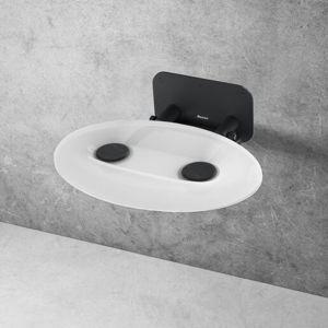 Sprchové sedátko Ravak OVO P sklopné š. 41 cm průsvitně bílá/černá B8F0000057