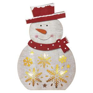 EMOS LED vánoční sněhulák dřevěný, 30cm, 2× AAA, teplá bílá, čas. ZY2331 Teplá bílá