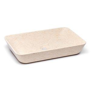 Umyvadlo na desku Triomini Lapis 60x38 cm light beige mat bez přepadu LA6038LB