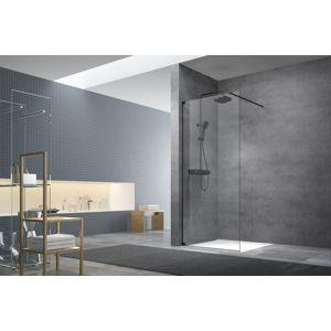 Sprchová zástěna Walk-In 90 cm s panty a zavětrováním Swiss Aqua Technologies Walk-in černá SATBWI90PAC