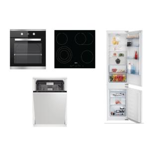 Set spotřebičů Beko, trouba BIM25301XCS + deska HIC64404T + myčka DIN28422+ lednice BCSA285K4SN