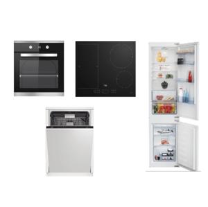 Set spotřebičů Beko, trouba BIM25301XCS + deska HII64200FMT + myčka DIN28422+ lednice BCSA285K4SN