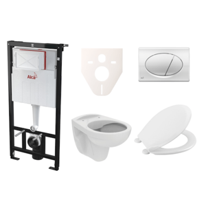 Závěsný set WC S-Line PRO rimless, nádržka Alcaplast Sádromodul, tlačítko chrom lesk SIKOASP2