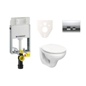 Závěsný set WC Kolo Nova Pro + modul Geberit Kombifix s tlačítkem Delta 50 (chrom mat) SIKOGE1K6