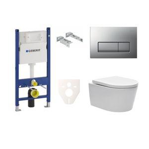 Závěsný set WC SAT Brevis, nádržka Geberit Duofix, tlačítko chrom mat SIKOGES7W8S