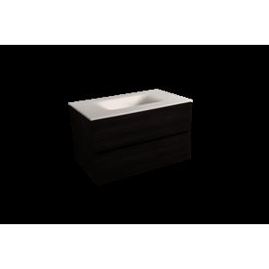 Koupelnová skříňka s umyvadlem bílá mat Naturel Verona 66x51,2x52,5 cm tmavé dřevo VERONA66BMTD